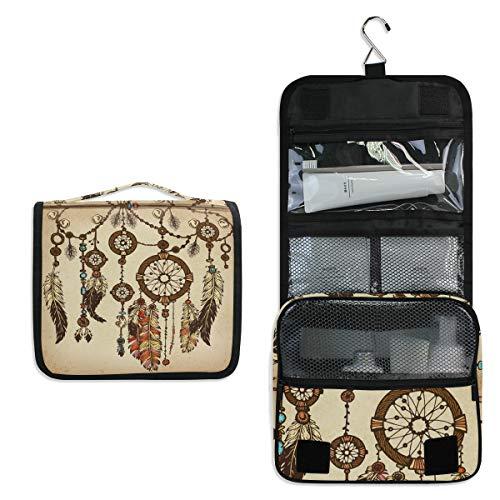 Linomo - Neceser Colgante de Viaje para Mujer y Hombre, diseño Vintage, atrapasueños, Bolsas de Maquillaje Grandes con Gancho
