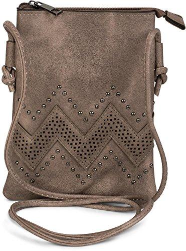 styleBREAKER Mini Bag Umhängetasche mit Zick-Zack Cutout und Nieten, Schultertasche, Handtasche, Tasche, Damen 02012211, Farbe:Taupe
