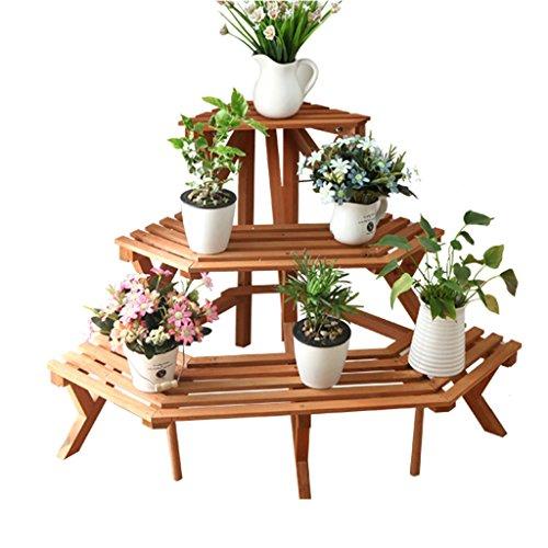 XIN Jardin Trois Étages Stand De Fleurs Bois Massif Balcon Du Salon Triangle Coin De Fleurs Cadre Bonsaï (taille : 91 * 97 * 60cm)