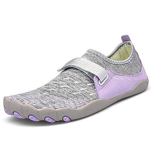 Dreamshow Barfußschuhe Damen Herren Aquaschuhe Sport Outdoor Fitnessschuhe Trekking Schuhe Ultraleicht Rutschfest 36-46, Lila, 40 EU