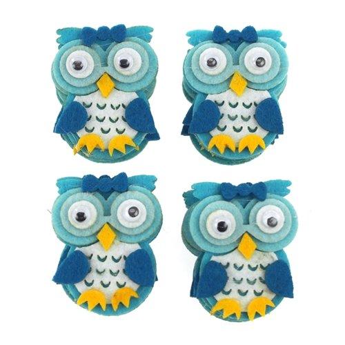 "Firefly Imports FCFTCF256BLU Owl Felt Animals Baby Shower Decor (12 Pack), 2"", Blue"