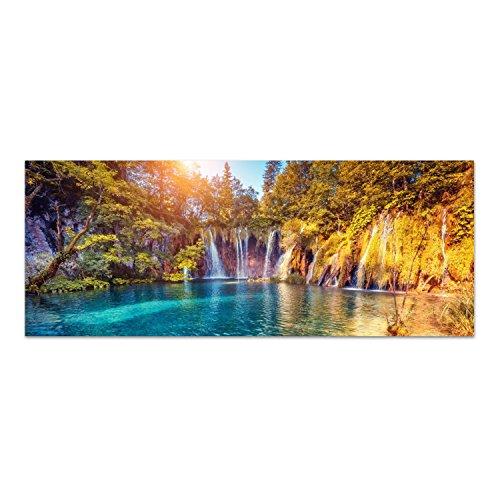 DekoGlas Glasbild \'Goldener Wasserfall\' Echtglas Bild Küche, Wandbild Flur Bilder Wohnzimmer Wanddeko, einteilig 125x50 cm