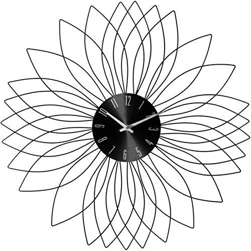 Les Douces Nuits De Mae Pendule métal fleur noir Ø 50 cm