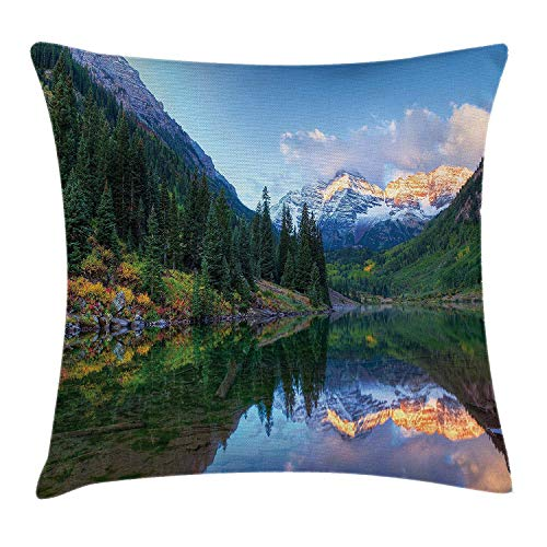 FPDecor Landscape Kissenbezug, Reflection of Snowcapped Maroon Bells in Fall Sunrise Panoramic Picture Print, Decorative Square Accent Pillow Case, 18 X 18 inches, Green Yellow