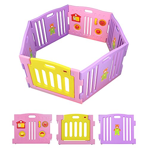 BEBEHUT Baby Spielgitter Laufstall Laufgitter Absperrgitter Schutzgitter Kunststoff Krabbelgitter 3601-D02 JBW06-D02 pink/gelb/lila