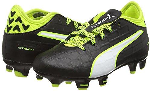Puma Evotouch 3 Fg Jr  Unisex Kids  Football Training Shoes  Black  black-white-safety yellow 01   4 UK  37 EU