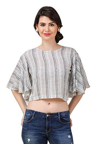 Big Pout women Aztec Print Round Neck Kimono sleeve Crop tops - M Size (White)