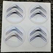 Adhesivos de resina tapacubos para Citroën - Color blanco 60mm - Calidad 3M - Pegatinas para tuning en 3D - 4unidades