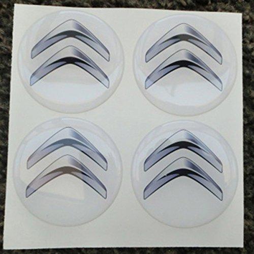 Citroen Blanc 60mm tuning 3d 3m résine caches roues enjoliveurs Caps Stickers x 4pièces