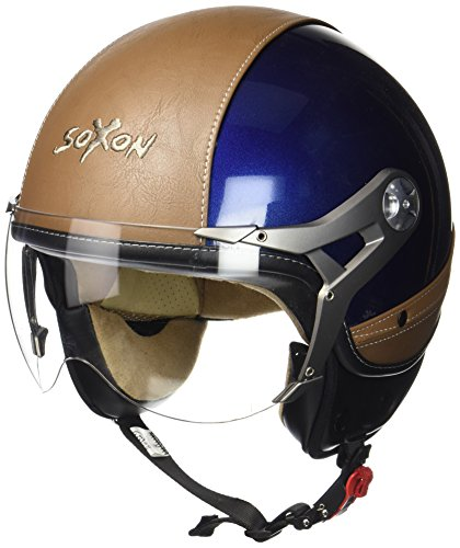 SOXON SP-325-URBAN Blue · Biker Piloto Bobber Moto Chopper Casco Demi-Jet Urban Motard Retro Urbano Mofa Vintage Vespa Scooter Cruiser · ECE certificato · design in pelle · compresi visiera · compresi Sacchetto portacasco · Blu · M (57-58cm)
