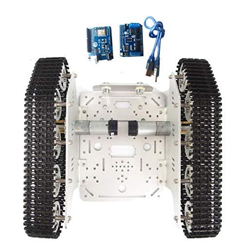 perfk Roboter WiFi Tank Chassis Panzer Plattform Metall mit DC 9V/12V Motorenund ESPduino Board für Arduino DIY, inkl, Doppel Motoren - Silber 12V