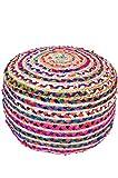 Orientalischer runder pouf aus Jute 50cm inklusive Füllung | Marokkanisches Sitzkissen Sitzpouf Kissen rund Guwahati ø 50cm Rund | Orientalisches rundes Yogakissen Meditationskissen