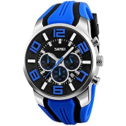 Popular Men's Watches Outdoor Sports Digital Watch Multifunction Talking Watch Music Alarm Clock LED Wristwatches , blue