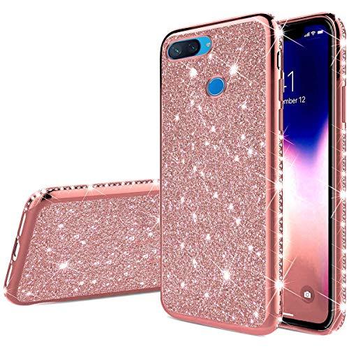 Uposao Kompatibel mit Xiaomi Mi 8 Lite Handyhülle Glänzend Glitzer Kristall Strass Diamant Handytasche Überzug Silikon Schutzhülle Tasche Durchsichtige Hülle Backcover Case,Rose Gold
