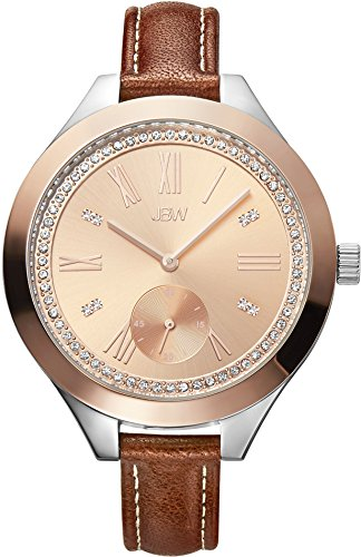 JBW WOMEN'S ARIA DIAMOND 40MM BROWN LEATHER BAND QUARTZ ANALOG WATCH J6309D