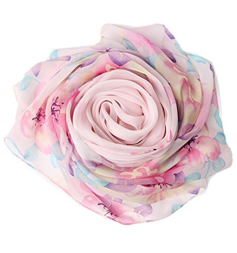 Prettystern xxl 180/110 cm leggera sciarpa di 100% seta pareo spring summer floral stripe painting ispirata pink floral y02