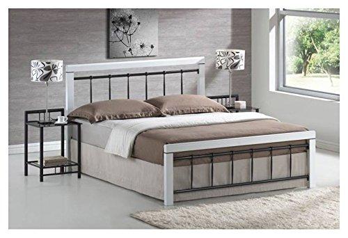Ehebett Lattenrost Bettgestell Doppelbett Bett Schlafzimmerbett BERLIN NEU 160cm x 200cm Weiß/Schwarz