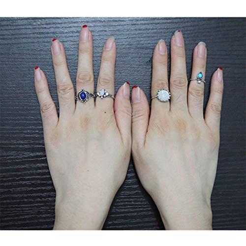 Opal Kostüm Ring - Yean Turquoise Opal Rings Set Gelenkknöchelringe Plain Ring Band für Frauen und Mädchen