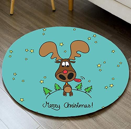 KOOCO Runde Teppiche für Wohnzimmer Computer Stuhl Bereich Teppich Kinder Spielzelt Rutschfeste Bodenmatte Garderobe Teppiche Weihnachtsdekor, C21,80x80cm -