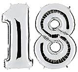 PartyMarty Ballon Zahl 18 in Silber - XXL Riesenzahl 100cm - zum 18. Geburtstag - Party Geschenk Dekoration Folienballon Luftballon Happy Birthday