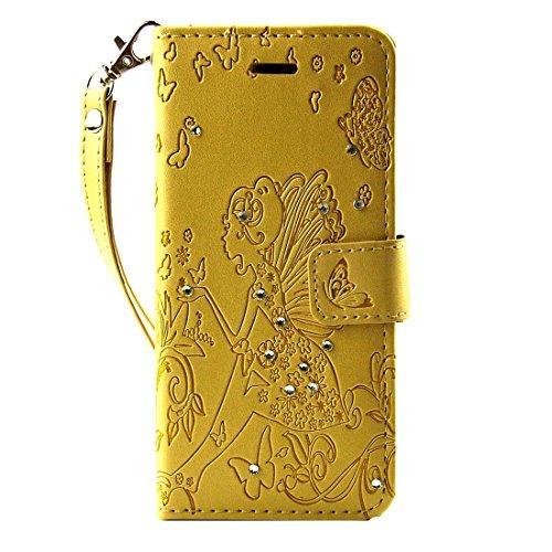 Hülle für iPhone 7 plus , Schutzhülle Für iPhone 7 Plus gepresste Blume Schmetterling Mädchen Muster Diamant verkrustet Horizontale Flip Leder Tasche mit Halter & Card Slots & Wallet & Photo Frame & L IP7P1116J