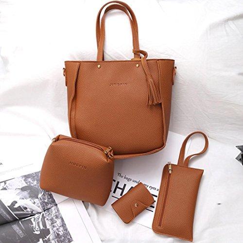 Pu borse in pelle, le donne quattro set borsa pu in pelle borse a tracolla quattro pezzi tote bag crossbody portafoglio by Kangrunmy Marrone