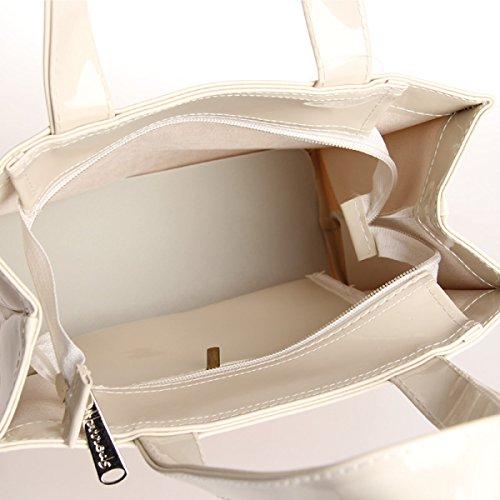 PVC Wasserdichte Einkaufstaschen Schultertasche Handtaschen,Black White