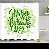 AlliuCoo Polyester-Duschvorhänge-Happy St Patrick Tag Hand Schriftzug Urlaub Werbung Schilder Symbole Vierpass-Design 182,9x 182,9cm Home Decor Badezimmer Bad Vorhang Set mit Haken