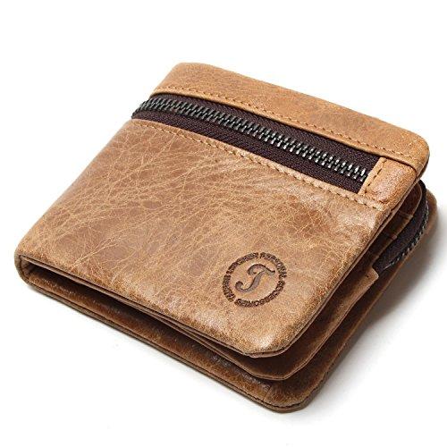 TADEQIAN Echt Pu Herren Geldbörsen Marke Logo Reißverschluss Design Bifold Short Herren Brieftasche Männlich Mit Kartenhalter Münzen Geldbörsen Brieftasche, Kaffee S