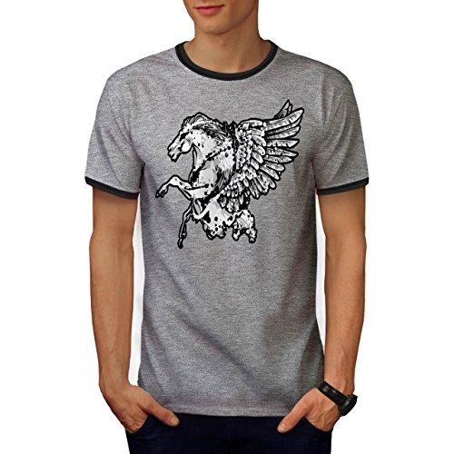 Fantasie Pegasus Pferd Verrückt Flügel Herren XXL Ringer T-shirt | Wellcoda (Ringer Flügel)
