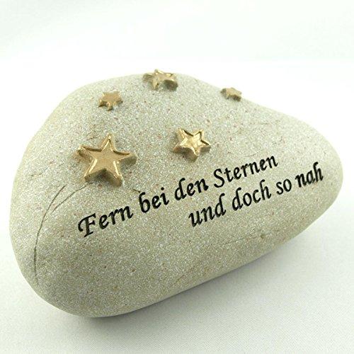 Wetterfester Grabschmuck Deko Stein - Fern bei den Sternen und doch so nah. Breite 13cm