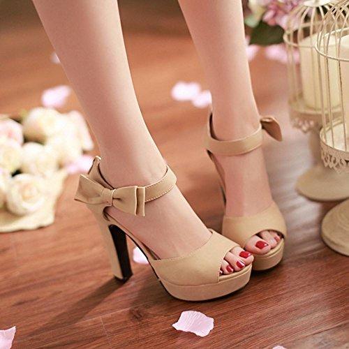 COOLCEPT Femmes Mode Cheville Sandales Peep Toe Conique Talon hauts Chaussures With Fermeture eclair Abricot