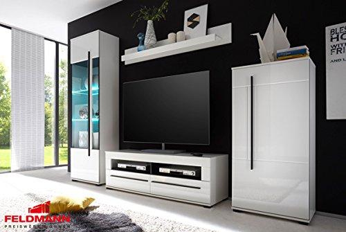 Wohnwand Anbauwand mit LED-Beleuchtung 440940 weiß 260cm 4-teilig