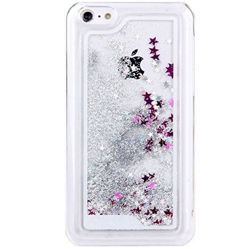 iPhone 5C Hülle,iPhone 5C Case [Scratch-Resistant], ISAKEN iPhone 5C Ultra Slim Perfect Fit Kreativ Design Liquid Fließen Flüssig Schwimmend Love Herz der Liebe Bling Luxus Shiny Glanz Sparkle Kristal Stern Silber