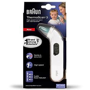 Braun IRT3030 ThermoScan 3 Infrarot Ohrthermometer + Braun Gehäuse-Schutz für Thermometer
