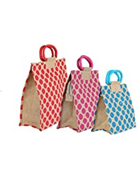 CSM Multipurpose Jute Bag/ Lunch Bag/ Shopping Bag Combo Of 3 Pcs