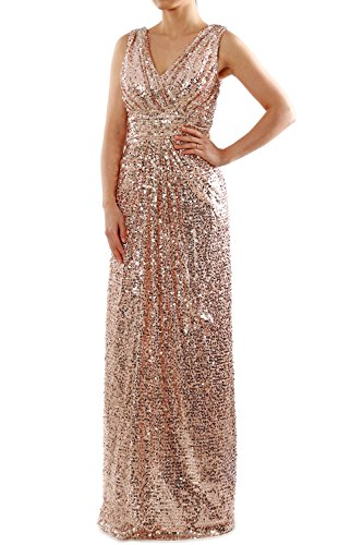 MACloth Sequin Bridesmaid Dress Straps V Neck Ruched Long Formal Evening Gown (38, Rose Gold) (Junior Tank-top Fitted)