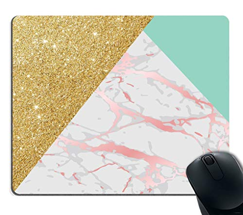 FOSHANSH Gaming Mouse Pad Custom Rectangle Gaming Mouse Pad Personalized Custom Design,Blue Gold Glitter and Pink Marble Texture,Non-Slip Thick Rubber Large Mousepad Glitter Slip