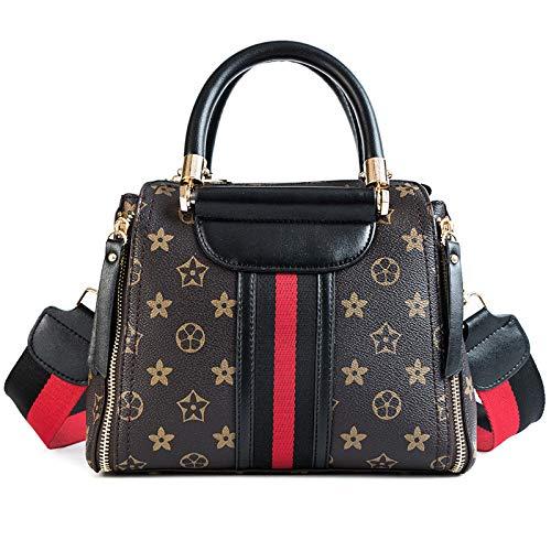 Ldyia Tasche Damen Old Flower Bag College Wind Doppelreißverschluss Große Kapazität Handtaschen Schulter Messenger Boston Damentasche, Schwarz -