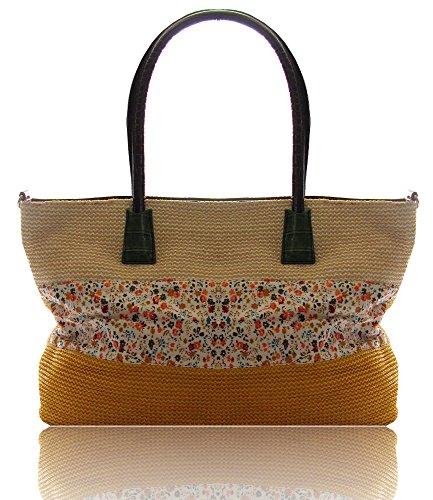 Damen Sommer Handtasche Shopper Bast Optik mit Blumen Gelb Gelb