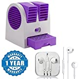 #9: Quastro Mini Portable Dual Bladeless Small Air Conditioner Water Air Cooler Powered by USB & Battery With Earpod With Remote And Mic Wired Headset Compatible with Xiaomi, Lenovo, Apple, Samsung, Sony, Oppo, Gionee, Vivo Smartphones (One Year Warranty)