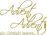 GRAZDesign Wandtattoo Tattoo Aufkleber für Weihnachten Spruch Advent Adven EIN Lichtlein (68x50cm//820 Mustard)