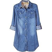 Camisa de mujer de manga arremangada, Denim