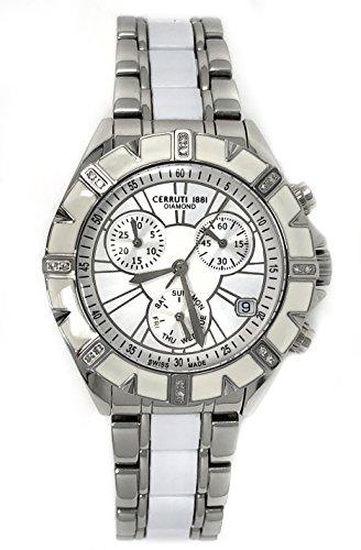 Cerruti 1881 Ladies Chronograph Watch Two Tone Silver and White Ceramic strap Diamond CRWDM031B219Q