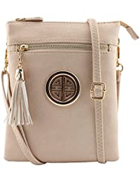 Soft Faux Leather Tassels Detail Multi Compartments Functional Cross Body Bags With Clutch Bags Wrislet Strap...