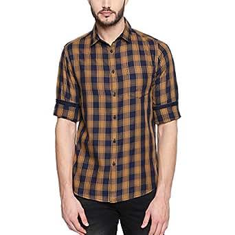 Dennis Lingo Men's Checkered Slim Fit Casual Shirt (C419_Mustard_XXL_Mustard_XXL)