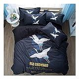 CSYPYLE Bettwäsche Set Heimtextilien Kreative Chinesischen Stil Tier Kran Muster Weiche Bequeme Bettbezug Bettlaken Schlafzimmer Bettwäsche Kit, 1,5 Mt