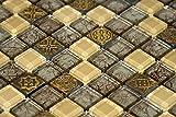 Fliesen Mosaik Mosaikfliesen Glasmosaik glänzend Gold Beige Bad WC Küche 8mm Neu #S20