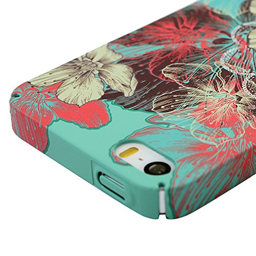 Badalink Coque iPhone pour iPhone 5, Case Housse Bumper Coque de Protection PC Plastique Rigide Dur Ultra Mince Slim Léger Anti Rayure Antichoc Housse Étui iPhone 5 Coque Case Motif Fleurs Fleurs