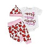 LEXUPE Baby Kleidung Mädchen, Infant Valentinstag Brief Gedruckt Jumpsuit Romper Hosen Hut Outfits Set